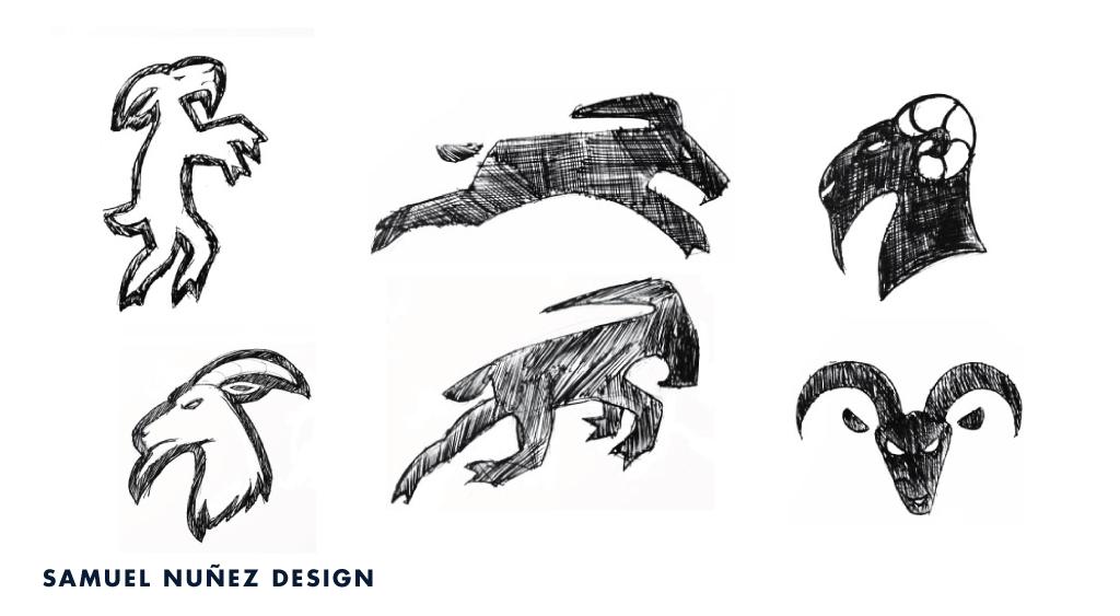 Iron Goat logo design sketches